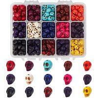 Halloween Theme Dyed Synthetic Turquoise Bead Strands, Skull, Mixed Color, 10x8x10mm, Hole: 1mm; 330pcs/box