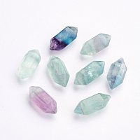 Arricraft Natural Fluorite Beads, Double Terminated Pointed, Bullet, No Hole, 18~20x8mm