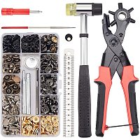 DIY Craft Tools Kits, with Brass Snap Fastener Tools Sets and Leather Hole Punch Tool Sets, Installable Two Way Rubber Hammers, Mixed Color, Box: 17.6x6x2.2cm