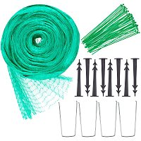 DIY Anti-bird Net Kit, with Plastic Cable Ties & Ground Landscape Pins, Iron U Shape Ground Landscape Pins, Green Anti-bird Net, Green, 12x4m