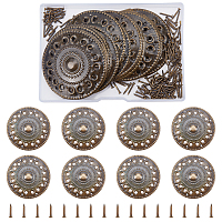 Iron Box Corner Protectors, with Screws, For Furniture Jewelry Box Decoration, Flat Round, Antique Bronze, Flat Round: 51.7x1.3mm, Hole: 2.6mm and 1.4mm; Screw1: 14x5.5mm, 1pc; Screw2: 16x2.5mm, 1pc; Screw3: 10.5x2.3mm, 20sets/box