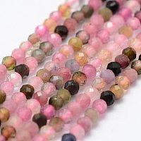 ARRICRAFT Natural Tourmaline Beads Strands, Faceted, Round, Mixed Color, 2mm, Hole: 0.5mm, about 156pcs/strand, 14.9 inches(38cm)