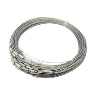 """NBEADS 100 Strands Steel Wire Necklace Cord, Nice for DIY Jewelry Making, with Brass Screw Clasp, Silver, 17.5""""; 1mm; Clasp: 12x4mm"""