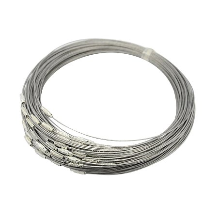 NBEADS 100 Strands Steel Wire Necklace Cord, Nice for DIY Jewelry Making, with Brass Screw Clasp, Silver, 17.5