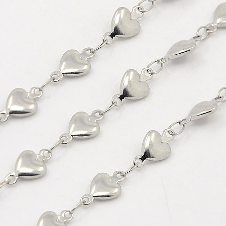 NBEADS 1m/1.09 Yards Silver Color Soldered 304 Stainless Steel Heart Chains Jewelry Making Chains Necklace Link Cable Chain for DIY Jewelry Making