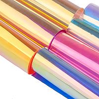 Gorgecraft Clear Glitter PVC Vinyl Fabrics, Iridescent Magic Mirror Effect, Mixed Color, 30x20cm, 7 Colors, 1sheet/color, 7sheets/set