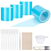 Gorgecraft Epoxy Resin Craft Making Tool Kits, includ Seamless Paper Tape, Sharp Steel Scissors, 304 Stainless Steel Beading Tweezers, Plastic Dropper & Mixing Dish, Mixed Color, 50mm; about 5m/roll, 4rolls