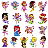 SUNNYCLUE DIY Diamond Painting Stickers Kits For Kids, with Diamond Painting Stickers, Rhinestones, Diamond Sticky Pen, Tray Plate and Glue Clay, Mixed Color, 2boxes/set