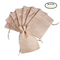PandaHall Elite Size 13.5x9.5cm Tan Burlap Small Drawstring Gift Bags Carrying Storage Pouch Wrap for Gift Party Wedding, about 20pcs/bag