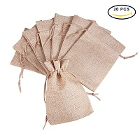 PandaHall Elite Size 18x13cm Tan Burlap Small Drawstring Gift Bags Carrying Storage Pouch Wrap for Gift Party Wedding, about 20pcs/bag