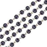 PandaHall Elite Handmade Glass Pearl Beads Chains, with Glass Pearl Beads and Iron Eyepins, Antique Bronze, Black, 1000x8mm, about 76pcs/strand