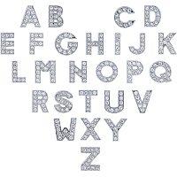 NBEADS 156 Pcs Alphabet Slide Beads, Rhinestone A-Z Letter Charm Necklace Bracelet Beads for DIY Craft Jewelry Decoration