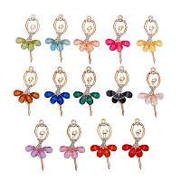 PH PandaHall 14pcs 14 Colors Crystal Ballerina Charms Inlaid Rhinestone Resin Ballet Dancer Pendants for Teen Women DIY Bracelet Necklace Jewelry Making