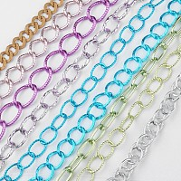 ARRICRAFT Aluminum Twisted Chains and Cable Chains, Unwelded, Mixed Color, 16~28x12~18.5x2~3mm, 10m/set