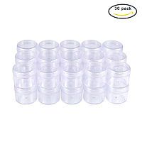 """BENECREAT 30 Pack 1.47""""x1.26"""" (20ml) Empty Clear Plastic Bead Storage Container jar with Rounded Screw-Top Lids for Beads, Nail Art, Glitter, Make Up, Cosmetics and Travel Cream"""
