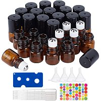 BENECREAT 30 Pack 1ml Amber Glass Essential Oils Roller Bottles with Stainless Steel Roller Balls, 10Pcs 3ml Droppers, 4Pcs Funnels, 1Pc Openers and Label for Essential Oils and Other Liquids