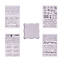 PandaHall Elite 4 Sheets Clear Silicone Stamps Alphabet Calendar Symbol Stamp Seal Set with Square Acrylic Block Pad for Cards Making DIY Scrapbooking Photo