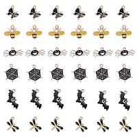 ARRICRAFT 36Pcs 6 Style Light Gold Plated Alloy Pendants, with Enamel, Butterfly & Bee & Spider & Spider Web & Bat & Dragonfly Shape, Black, 36pcs/box