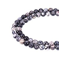 NBEADS 5 Strands(About 47pcs/Strand) Natural Netstone Round Loose Bead Strands for Jewelry Making,8~8.5mm, Hole: 1mm