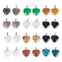 Pandahall Elite 12 Colors Heart Shape Healing Chakra Beads Crystal Quartz Stone Charms Pendants for Necklace Jewelry Making-24pieces