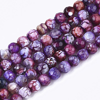 """NBEADS Natural Crackle Agate Beads Strands, Dyed, Faceted, Round, Purple, 6mm, Hole: 1mm; about 63pcs/strand, 14.5"""""""