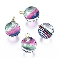 ARRICRAFT K9 Glass Pendants, Golf Ball Beads, with Golden Tone Brass Peg Bail, Faceted, Round, Colorful, 1/2x1/4 inch(12x8mm), Hole: 1.5mm