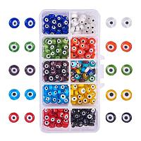 NBEADS 10 Kinds 350 Pcs Mixed Color Handmade Evil Eye Lampwork Beads, Flat Round Charms Spacer Beads Loose Beads fit Bracelets Necklace Jewelry Making