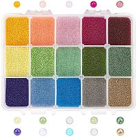 OLYCRAFT 300g 0.6~0.8mm Glass Bubble Beads Micro Caviar Beads Iridescent Water Droplets Bubble Beads Tiny Glass Beads for Resin Crafting and Nail Arts-15 Colors