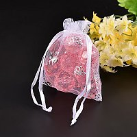 NBEADS 100pcs 9x7cm White Satin Drawstring Organza Pouches Wedding Party Favor Gift Jewelry Watch Bags with Butterfly Pattern