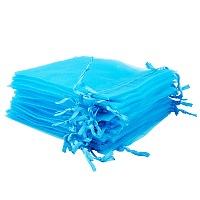 "PandaHall Elite 200 Pcs 4.7x3.9"" Blue Organza Drawstring Gift Pouch Wrap Favor Bag for Party Wedding"