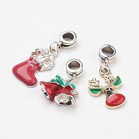Arricraft Tibetan Style Alloy European Dangle Beads, with Christmas Alloy Enamel Pendants, Mixed Shape, Mixed Color, 25~35x15~17x3~7.5mm, Hole: 5mm