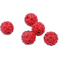 Pandahall Elite About 100 Pcs 12mm Clay Pave Disco Ball Czech Crystal Rhinestone Shamballa Beads Charm Round Spacer Bead for Jewelry Making Light Red