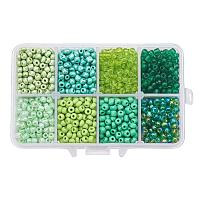 ARRICRAFT 1 Box About 1440pcs 6/0 4mm Mixed Green Round Glass Seed Beads