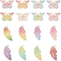NBEADS 64 Pcs Leaf Butterfly Charms, Colorful Acrylic Butterfly Pendant DIY Bracelet Necklace for Jewelry Making Crafting