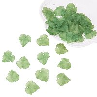 PandaHall Elite About 100 Pcs Frosted Style Acrylic Maple Leaf Charm Pendants for Jewelry Making 24x22.5x3mm Green