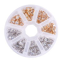 PandaHall Elite 120pcs 4 Style Cubic Zirconia Alloy Rhinestone Charms Pendant for Bracelet Necklace Earring Jewelry Making, Light Gold & Silver