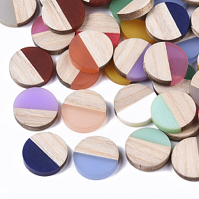 ARRICRAFT Resin & Wood Cabochons, Flat Round, Two Tone, Mixed Color, 15x3.5mm