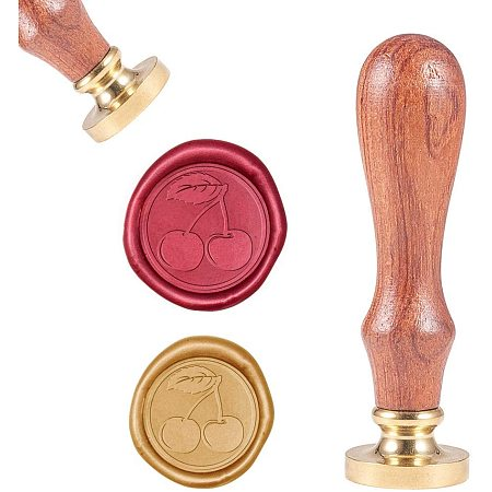 CRASPIRE Wax Seal Stamp, Vintage Wax Sealing Stamps Cherry Retro Wood Stamp Removable Brass Head 25mm for Wedding Envelopes Invitations Embellishment Bottle Decoration Gift Packing