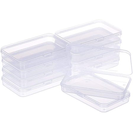 BENECREAT 10 Packs 3.7x4.7x1.1 Large Clear Rectangle Plastic Storage Box Bead Storage Containers with Lids for Cards, Clips and Other Craft Accessories
