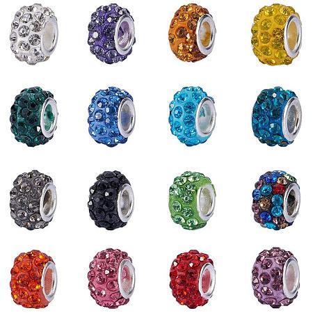 NBEADS 100Pcs Random Mixed Color Rhinestone European Beads, Crystal Charm Beads Large Hole Spacer Beads Fit European Bracelet Snake Chain Charms Bracelet