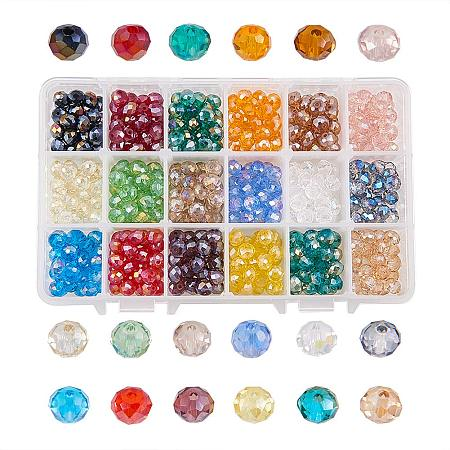 NBEADS 540 Pcs 8mm Mixed Color Crystal Abacus Faceted Glass Beads Electroplate Loose Beads Jewelry Making Container Box