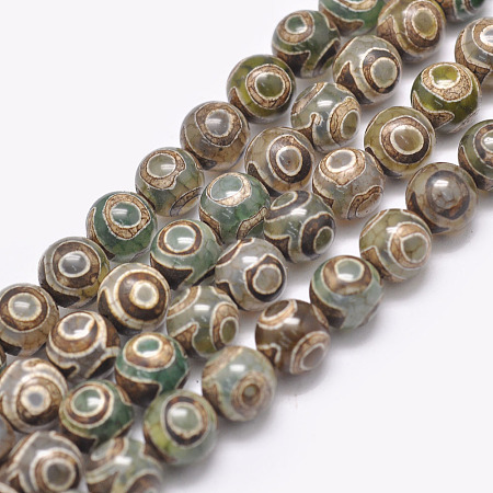 ARRICRAFT Natural Tibetan 3-Eye dZi Agate Beads Strands, Round, Dyed & Heated, Dark Green, 8mm, Hole: 1.2mm, about 47pcs/strand, 15 inches