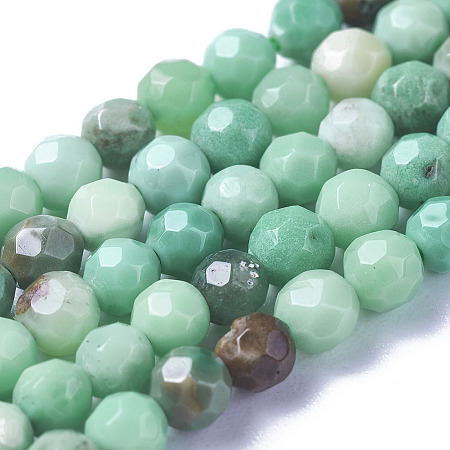 NBEADS Natural Green Onyx Agate Beads Strands, Dyed, Faceted, Round, PaleGreen, 4mm, Hole: 1mm