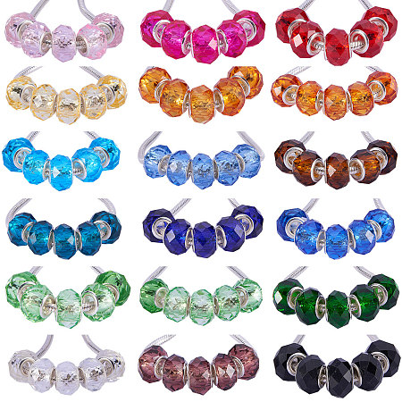 PandaHall 1 Box 144 PCS 18 Color Handmade Glass European Beads Faceted Rondelle Large Hole Beads 14x8mm for Jewelry Making