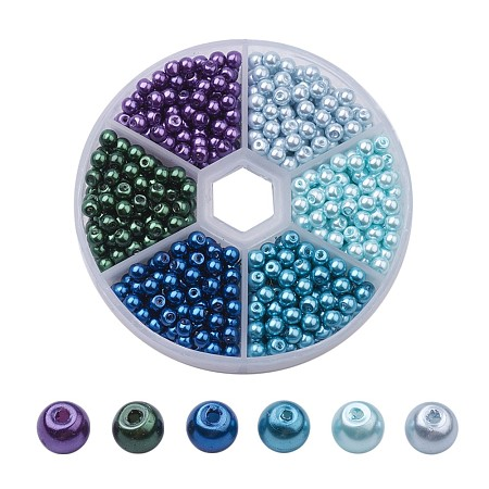 ARRICRAFT 4mm About 750-800 Pcs Tiny Satin Luster Glass Pearls Round Loose Beads with FREE Plastic Jewelry Container Box Wholesale Assorted Mix Lot For Jewelry Making Style 5