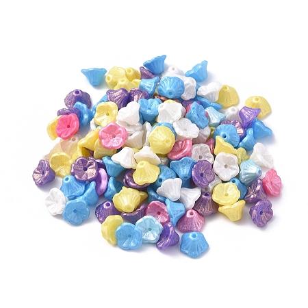NBEADS Czech Lampwork Beads, Trumpet Flower, Mixed Color, 7~7.5x5mm, Hole: 0.9mm, about 237pcs~243pcs/bag