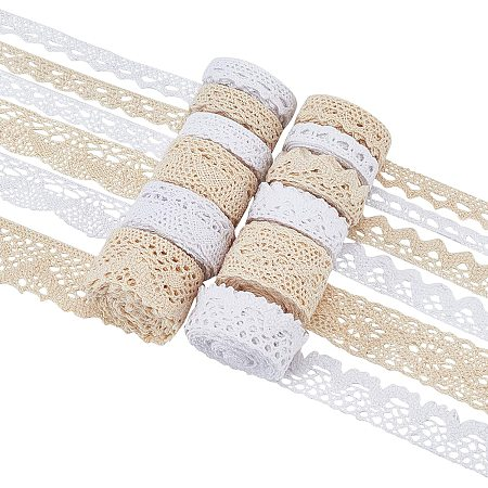 BENECREAT 12 Rolls 60 Yards Cotton Lace Trim Assorted Size Vintage Crochet Lace Ribbon Edge for Bridal Wedding Christmas Decoration Gifts Wrapping, (2 Colors, 5 Yards/Roll)