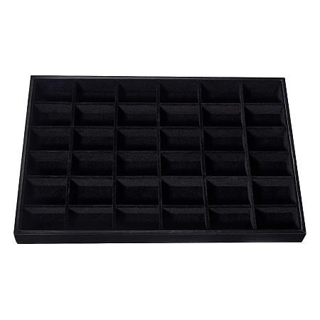 PandaHall Elite Velvet Drawer Jewelry Display Tray Showcase Rings Earrings Necklace Bracelet Storage Organizer with Dividers 36 Grid Jewelry Tray Black