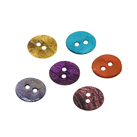 NBEADS 144 Pcs Random Mixed Color Mother of Pearl Buttons Dyed Flat Round Shell 2 Holes Buttons for Clothing Accessories or Sewing Scrapbooking