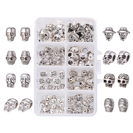 PandaHall Elite 80 Pcs Tibetan Alloy Skull Spacer Beads 8 Styles for Jewelry Making Antique Silver